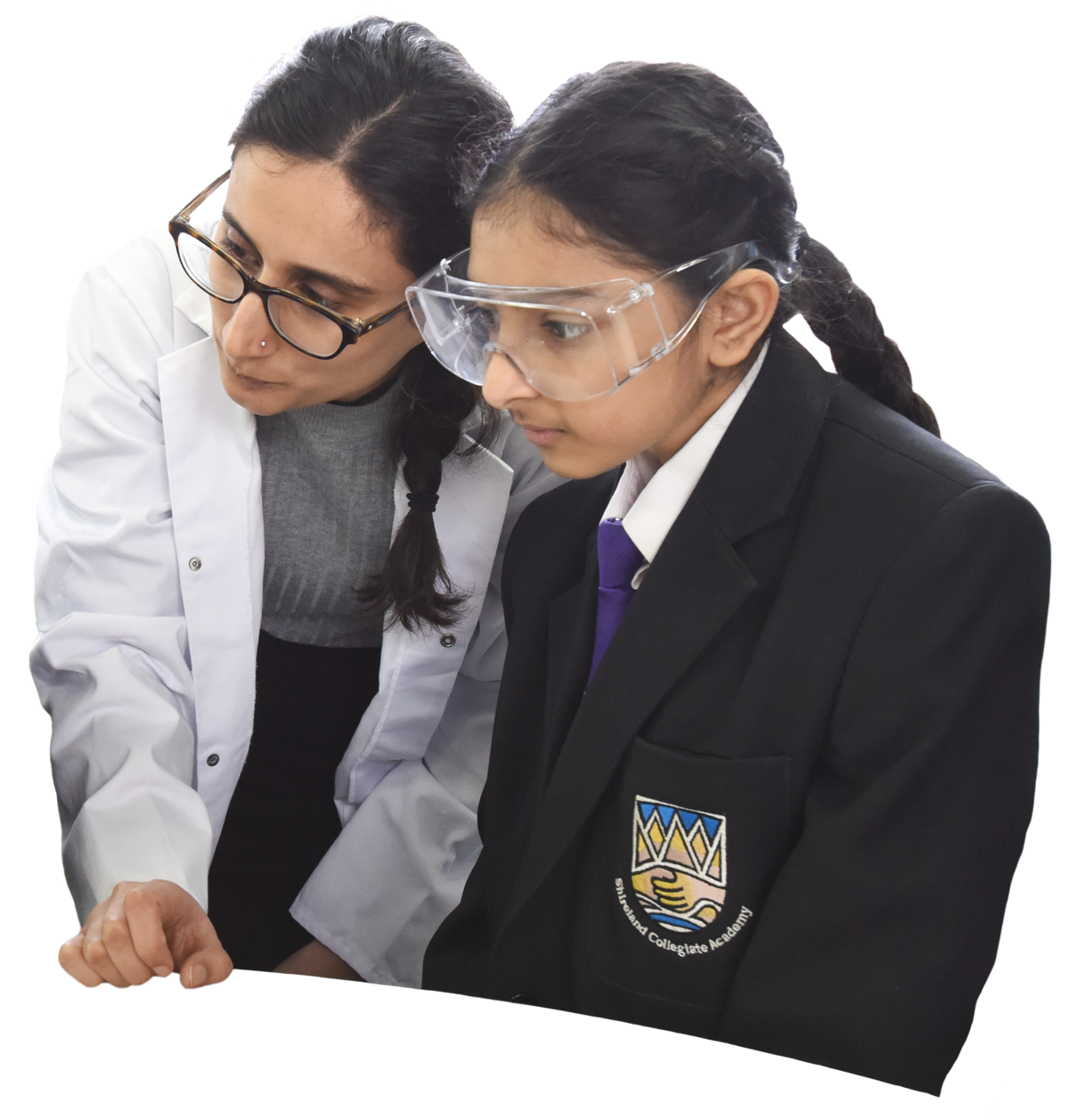 science teacher and student focusing