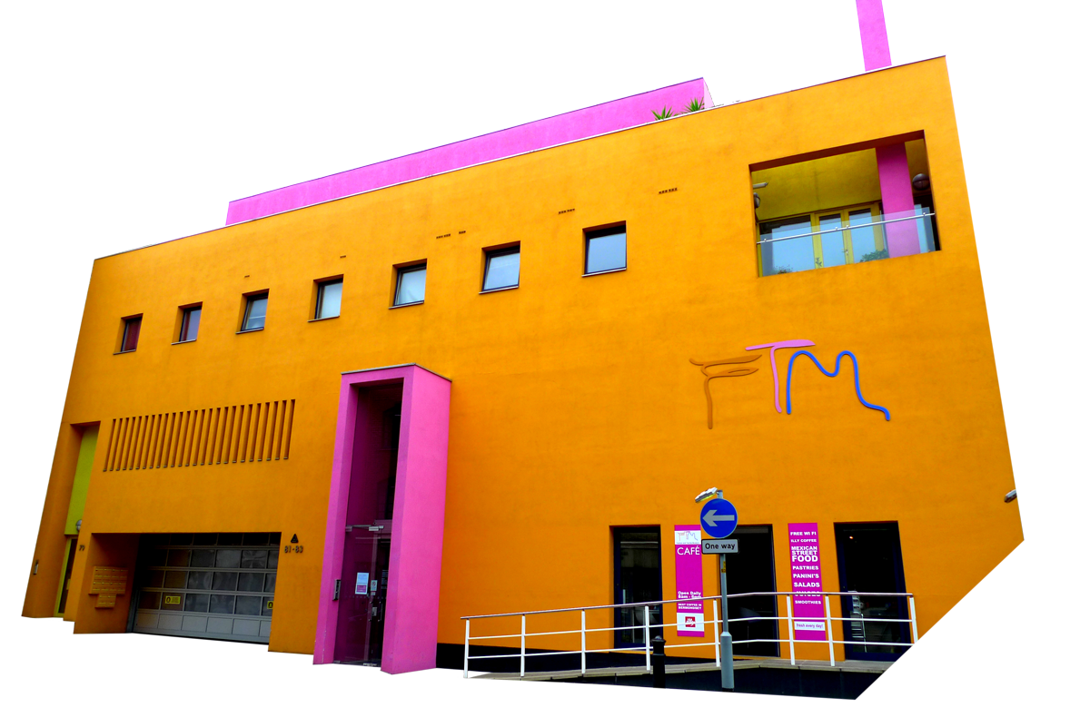 Yellow and Pink building image